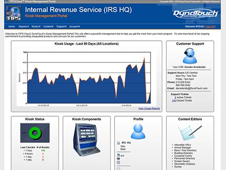TIPS Kiosk Management Software - TIPS Cloud Dashboard