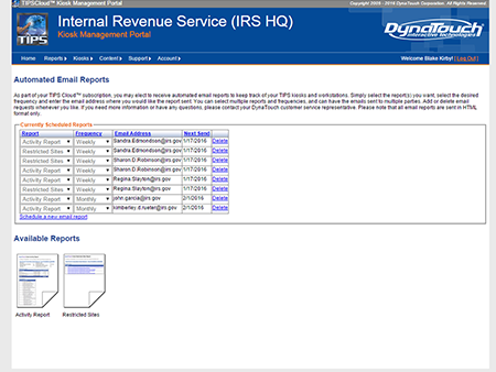 TIPS Kiosk Management Software - TIPS Cloud email reports