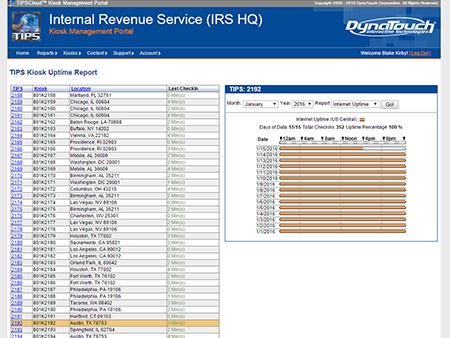 TIPS Kiosk Management Software - TIPS Cloud uptime reports