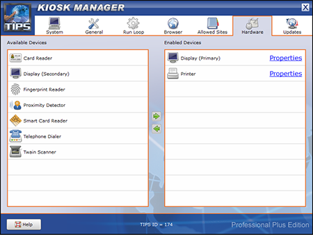 TIPS Kiosk Management Software - TIPS Administration - Hardware
